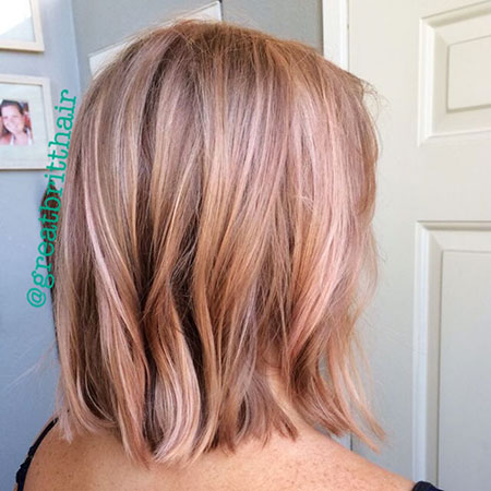 Rose Gold Balayage Long Bob Hair