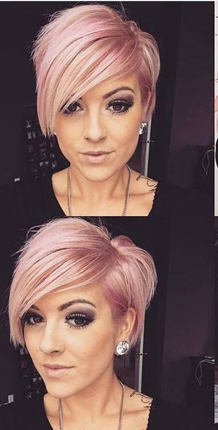 Pink Short Hair with Bangs