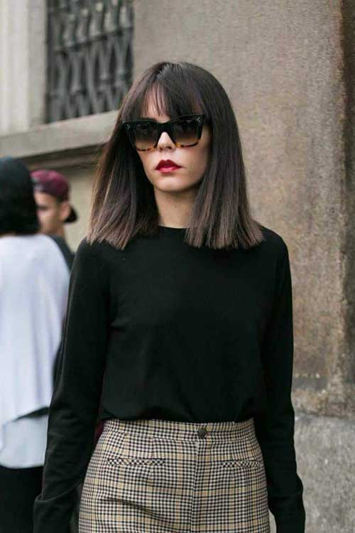 Blunt Bob Haircut With Bangs