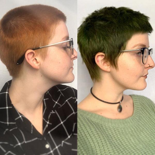 Short Green Hair Color