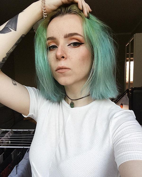 Green Hair Color Ideas For Short Hair